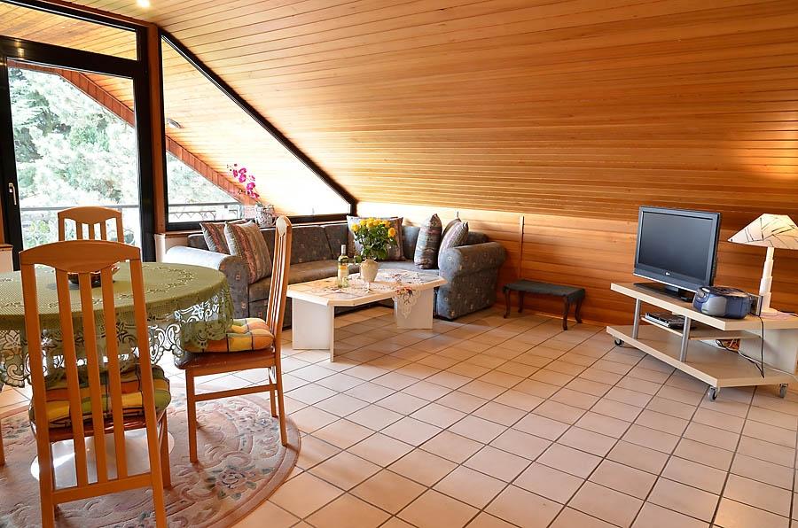 Großzügiger gemütlicher Wohn-/Essbereich mit Glasfront zum großem Balkon.