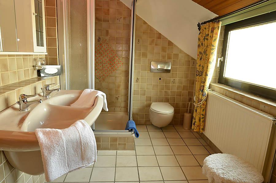 Großzügiges Tageslicht-Badezimmer mit Dusche, Doppelwaschbecken und WC.